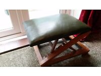 Green leather wooden pouffee/ foot stool, adjustable- downsizing, please check my other ads