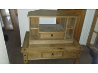 Solid dark pine coffee table andcmatching tv unit