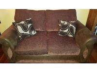 Brown leather and cloth 2 seater sofa