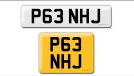 P63 NHJ private cherished personalised personal registration plate number