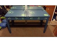 Double Children's school desk, hand-painted blue with moon, sun and stars. Ideal craft / play table