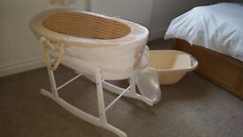 Moses basket, stand, matchong bath and new born bath seat