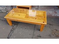 Large Rectangular Thick Pine Coffee Table in Good Condition