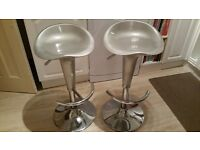 Silver and chrome breakfast bar adjustable stools x 2