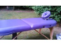 Portable massage table . Beauty therapist bench .
