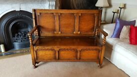 antique monks bench hall settle, solid oak with carved detail