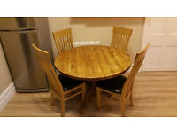 Solid Pine table and 4x chairs