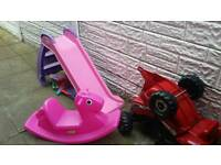 Little tikes slide, seesaw and no make tractor