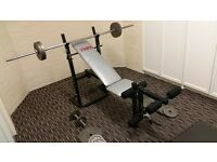 York Bench b500 and 61kg Iron Weights Set ideal home gym bench