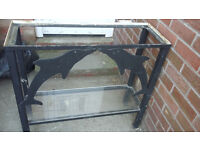 black metal fish tank stand with bottom shelve