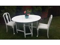 Shabby Chic White Drop Leaf Table and 2 Chairs (Table Circa 1940s)
