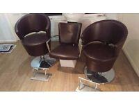 Salon water basin + salon chairs + foot stands