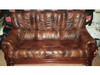 3, 2 & 1 piece leather suite with wooden frame