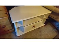 For Sale: Attractive Wooden Corner TV Stand in Cream