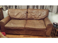 Large brown real leather sofa for collection Gravesend. See description