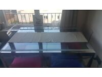 New ready built glass dining table & 4 chairs