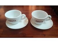2 New Medium Size 300ml Costa Coffee Cups and Saucers with Bean logo