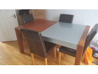 Wooden and glass dining room table
