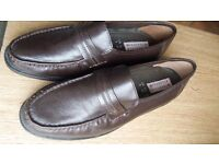 Men's Slip-on Leather Shoes - Size 9 (New) - Dark Brown colour