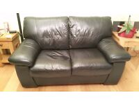 Black Real Leather DFS Sofa