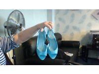 ladies lite blue sandls never been worn £10.00 o.n.o size 5