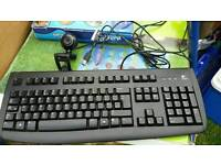 Logitech keyboard and Web cam
