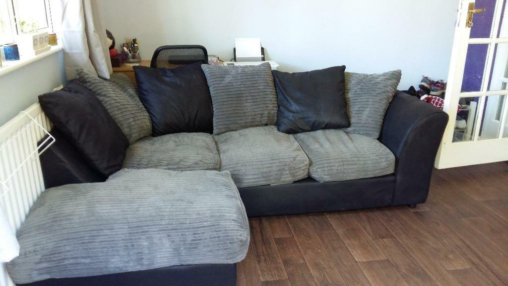 Grey and black leather look corner sofa for sale in for Gray sofas for sale