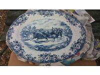 Oval platter blue/white