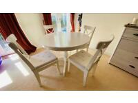 Ikea Ingatorp extendable dining table & 4 chairs with cushions