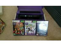 Xbox 360 kinect and 3 games one consule