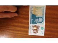 AA11 1 serial £5 note for sale see photo
