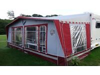 Isabella Ambassador Awning 1075cms with lightweight GRP poles to fit caravan, Burgundy/Grey