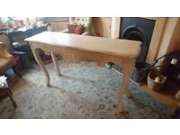 Console Table, soft neutral colour, beautiful carving, quality item, curved legs, simple design