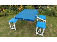 Folding camping table - includes 4 attached seats.