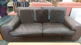 Dark Leather Two Seater Sofa With Scatter Cushions