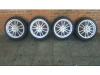 "Calibre ravs 18"" alloy wheels tyres 225 40 18 5x108 pcd ford focus Mondeo galaxy"