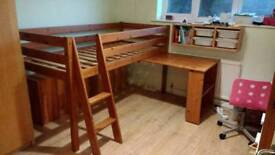 Mid sleeper bed pine with desk