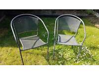 Two Grey Metal Garden Chairs in good condition