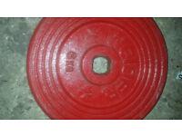 Red cast metal weider metal gym weights