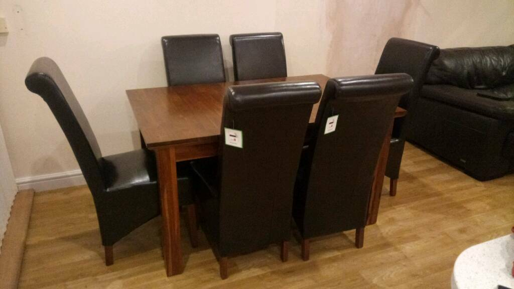Fenwicks Extendable Dining Table 6 Chairs Brand New 140cm X 90cm