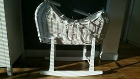 White wicker moses basket & rocking stand