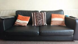 2 and 3 seater blacj leather sofas