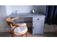 Desk/ Dressing table, vintage painted pine wood/ shabby chic