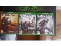 Xbox one - Watch Dogs, Titanfall, Assassins creed Unity