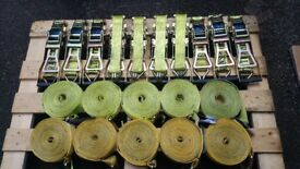 10 x 5 tonne 8,5 - 8,7 meters ratchet strap sets conformity tagged lightly used.