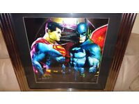 PATRICE MURCIANO BATMAN vs SUPERMAN LIMITED EDITION FRAMED LIQUID ARTWORK