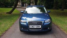 2007 AUDI A3 1.6 SE 5 DOOR FSH £3395 *golf focus astra bmw 3 mazda3 c4 megane civic leon size car*