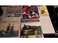 5 History/ geographical books (world atlas, Kings Queens Britain, mummies, medieval clothes)