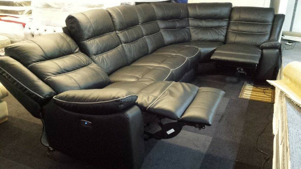 Scs Black Leather Grey Piping Extra Large Corner Sofa Recliners