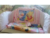 Pink Winnie The Pooh cotbed set